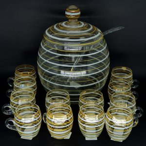 Poncheira Em Cristal Com 12 Xícaras E Concha