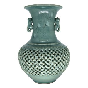 Ânfora Vaso em Porcelana Oriental Motivo Garça