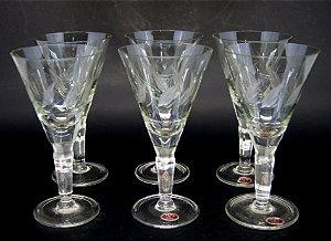 Jogo de 6 Taças Para Licor Em Cristal Lapidado a Mão