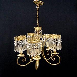 Lustre Em Bronze e Cristal Império 5 Braços