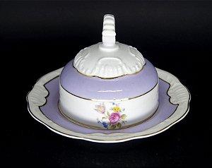 Manteigueira em Porcelana Schmidt Motivo Flores