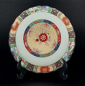 Prato Decorativo Chinês Floral em Porcelana