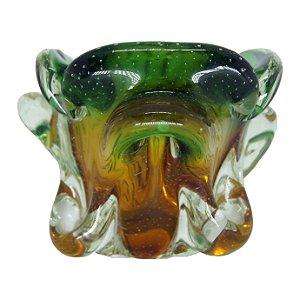 Vaso Porta Objeto Em Cristal Murano Verde e Amarelo