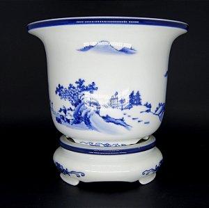 Cachepô Vaso em Porcelana Oriental Pintura Feita a Mão