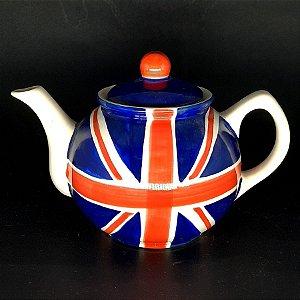 Bule de Chá em Porcelana Pintado a Mão Bandeira U.K