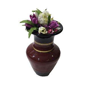 Vaso em Cerâmica cor Vermelha c/ Filetes Dourados (0628)