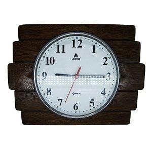 Relógio de Parede c/ Acabamento em Madeira