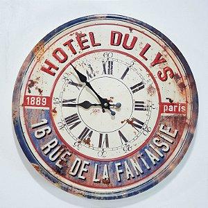Relógio em Metal 'Hotel Du Lys 1889 Paris