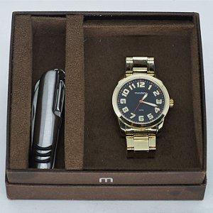 "kit Relógio ""Mondaine"" + Canivete Prateado c/Caixa"