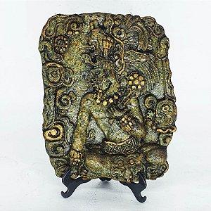 Gravura Inca em Pedra Deuses Folheado a Ouro