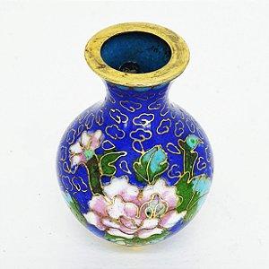 Mini Jarro Japonês Floral Decorativos em Louça Azul Filetado