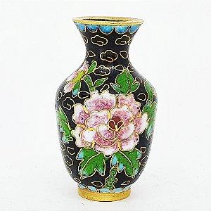 Mini Jarro Japonês Floral Decorativos em Louça Preta