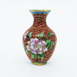 Mini Jarro Japonês Floral Decorativos em Louça Vermelha