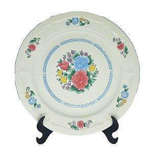 Prato Raso em Porcelana 'Gibson' Estampa Floral
