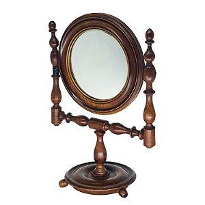 Espelho de Barbeiro c/ Acabamento em Madeira Imbuia