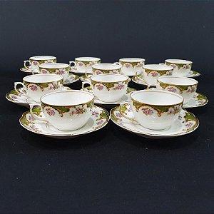 Jogo de Café e Chá  65 pçs em Porcelana Real Duplo Filetado