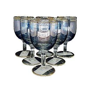 Jogo Taças P/ Vinho em Cristal Azul Claro