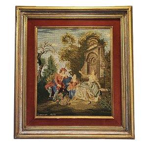 Quadro 'Cena Galante' Bordado Gobelin Artista Lancret 1530