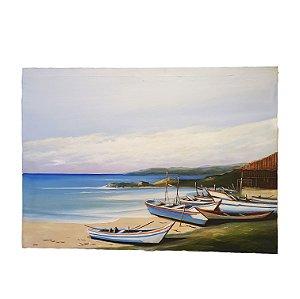 Quadro 'Marinha e Barcos' Artista Vargas