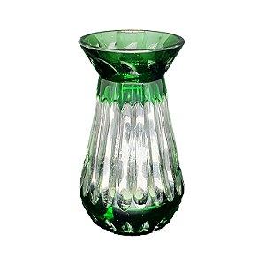 Vaso de Cristal Alemão Lapidado em Verde Anos 60