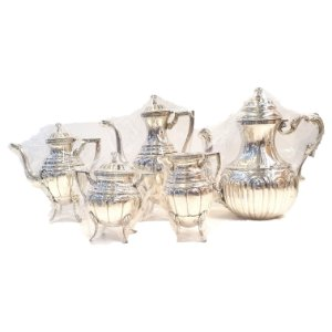 Conjunto de Café e Chá em Banho de Prata Anos 60 - 5 Peças
