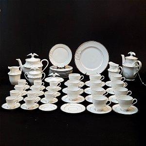 Jogo de Chá em Porcelana Germer Filetado a Ouro 60 Peças