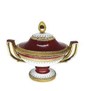 Centro de Mesa em Porcelana Filetado a Ouro
