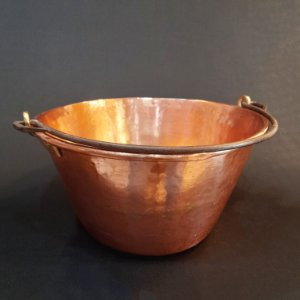Tacho de Cobre C/ Alça de Bronze e Aço de Ferro Batido