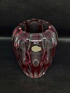 Vaso de Cristal Alemão Ead Crystal Lapidado a Mão