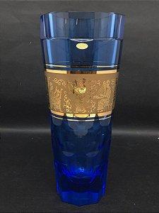 Vaso de Cristal Tcheco Azul Com Filete Cena Cotidiana