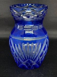 Vaso Tcheco Lapidado Azul Royal
