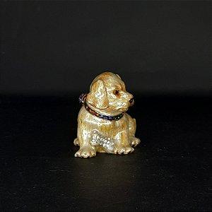 Mini Porta Joias Cachorro com Lenço e Cristais de Cor