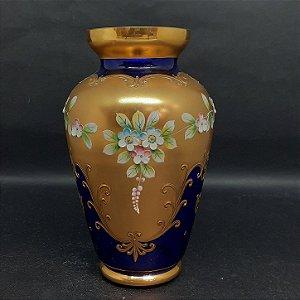 Vaso Bohemia Tcheco Azul Cobalto Pintura em Ouro 24k e Flore