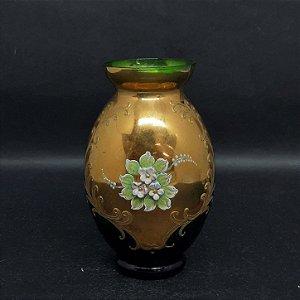 Vaso Bohemia Tcheco Esmeralda Pintura em Ouro 24k Flores Art