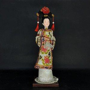 Gueixa Japonesa Resina Kimono em Tecido Pintada a Mão