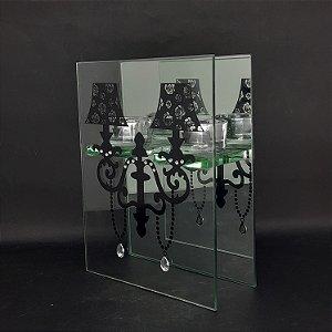 Porta Vela em Vidro Espelhado com Decalque