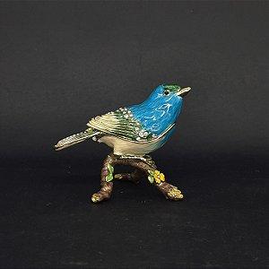 Porta Joias Pássaro Azul Cristais de Cor