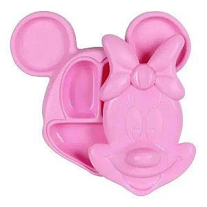 Prato 3d C Tampa Minnie Rosa Disney 3 Divisórias Babygo
