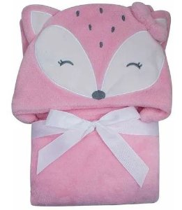 Manta Cobertor Roupão Capuz De Raposa Rosa Microfibra