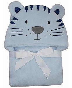 Manta Cobertor Roupão Capuz De Tigre Azul Microfibra