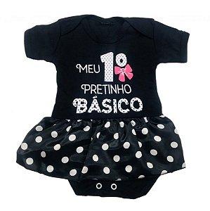Body Bebê Menina Pretinho Basico
