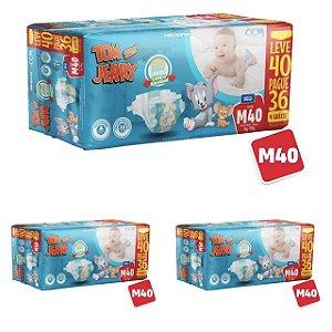 Kit 3 Fraldas Descartáveis Tom E Jerry Mega M