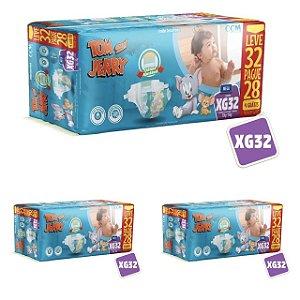 Kit 3 Fraldas Descartáveis Tom E Jerry Mega XG