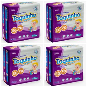 Kit Com 4 Pacotes Fraldas Toquinho Premium Atacado Barato XG
