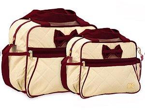 Kit Com 2 Bolsas Mave Baby Bege com Vinho Menina Maternidade Laço Luxo Super Promoção