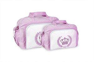 Kit 2 Bolsas Maternidade Bebê Mave Baby Coroa Lisa Rosa Atacado