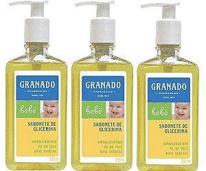 Kit Com 3 Sabonetes Granado Bebê Glicerina Líquido 250ml Cada