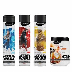 Kit Star Wars para todos os tipos de cabelos Com Shampoo + Condicionador + Creme de pentear 300ml + Máscara Condicionante 1kg