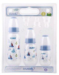 Kit Com 3 Mamadeiras Kuka Bico Ortodontico Azul