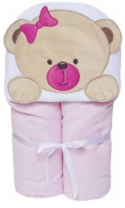 Toalha de Banho Forrada De Fralda Bichinhos Capuz Ursinha Bebê Rosa Papi